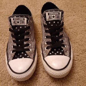 Black and white American Flag low top Converse